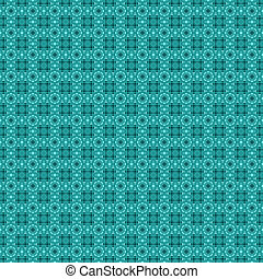 Teal flower mosaic detailed seamless textured pattern background