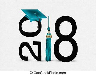 teal graduation cap on black for 2018