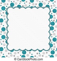 Teal, Gray and White Polka Dots Frame with Embroidery Background with center for copy-space, Classic Polka Dot Frame