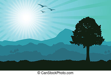 A vector landscape in teal tones, representing the end of the day. Editable illustration.