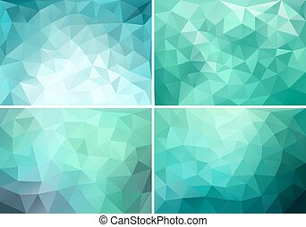 abstract blue, green and teal low poly backgrounds, set of vector design elements