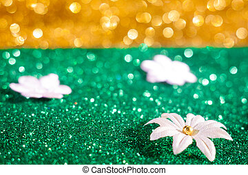 Teal or green glitter sparkle background