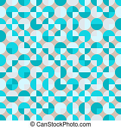 Teal repeat circle background with abstract geometric truchet seamless textured pattern tile