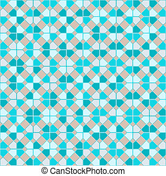 Teal repeat square background with abstract geometric seamless textured pattern