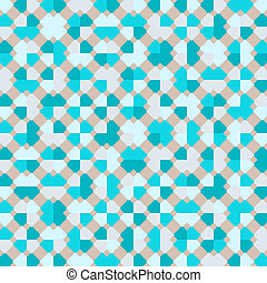 Teal repeat square background with abstract geometric truchet seamless textured pattern tile