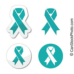 Teal ribbon ovarian cancer sign - The internationl symbol of...