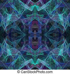 Teal Transparent Fractal Layers
