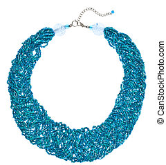 Teal Woven Bead Necklace Isolated on White.
