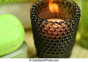 tealight, suporte, em, spa