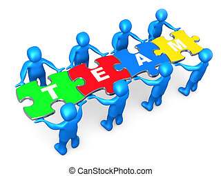 3d people holding pieces of a jigsaw puzzle with the word team.