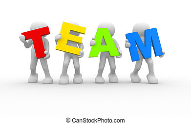 Team - 3D people- human character in team - This is a 3d...