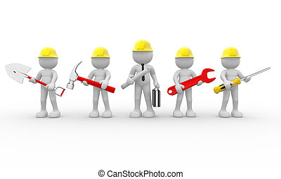 3d people - human character, team of construction workers and construction engineer. 3d render illustration