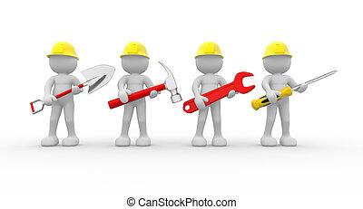 Team - 3d people - human character, team of construction ...