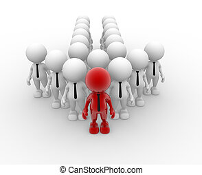 Team - 3d people - men, person in group. Leadership and team