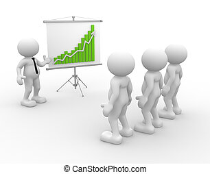 Team - 3d people - men, person presenting at a financial...