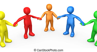 Team - 3d People Of Different Colors Holding Hands .