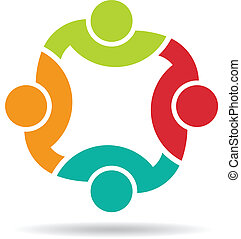 Team 4 congress logo. Concept group of connected people