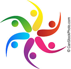 Team 5 swooshes logo vector