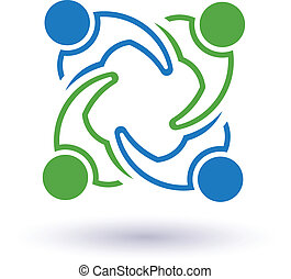 Team 7 congress. Concept group of connected people , happy friends, helping each other. Vector icon
