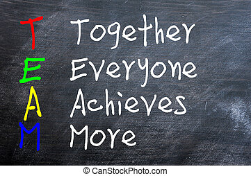 TEAM acronym for Together Everyone Achieves More written on ...