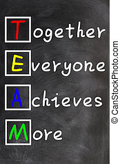 TEAM acronym (Together Everyone Achieves More), teamwork motivation concept of chalk handwriting on a blackboard