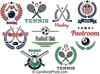 Football, soccer, ice hockey, darts, poolroom, bowling, baseball team and individual sport emblems in heraldic style