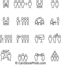 Team and teamwork thin line silhouettes. Business people outline icons