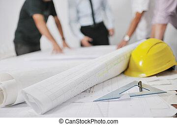 team, architecten, bouwterrein, bouwsector