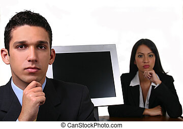 woman and man at the office