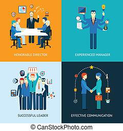 team, banieren, leider, zakelijk
