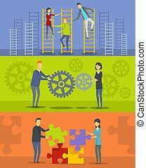 Team building banner horizontal set, flat style