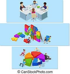 Team building banner horizontal set, isometric style