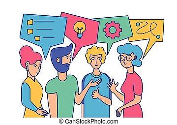 Team building, brainstorm vector illustration. Cartoon ...