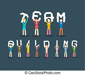 Team Building Concept. People Holding Letters. Vector ...