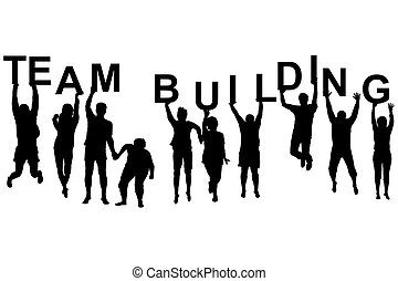 Team building concept with silhouettes of women and men ...