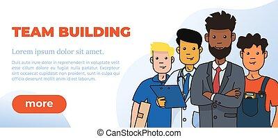 Team Building Design Poster. Vector Illustration. - Team ...