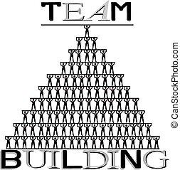 Team building, human pyramid, concept illustration on white ...