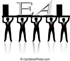 Team building, human pyramid, concept illustration on white...
