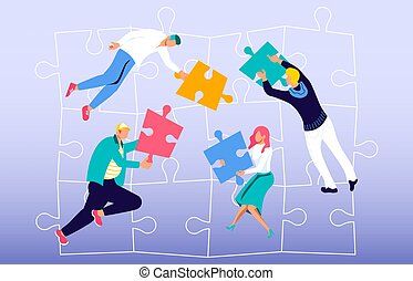 Team building metaphor - Coworkers connecting puzzle ...