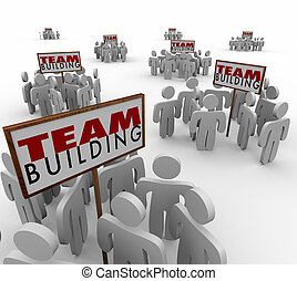 Team Building People Gathered Around Signs Meeting Teamwork Lear