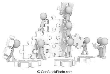 Team Building. - The dude x 9 building large white puzzle...