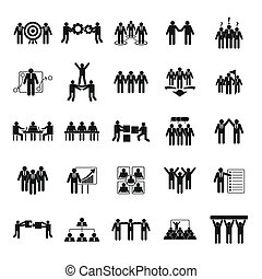 Team building training icons set, simple style