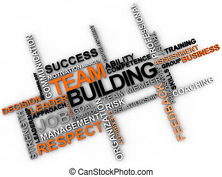 Team building word cloud over white background