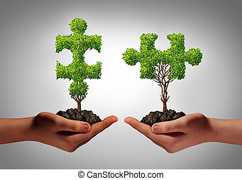 Team collaborate business concept with two human hands holding trees shaped as a jigsaw puzzle coming together as a success metaphor for growing cooperation and to build a teamwork agreement.