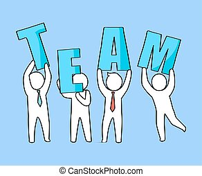 Team Businessmen with Letters Vector Illustration