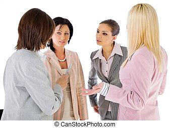 team businesswomen conversation