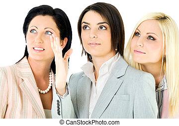 team businesswomen looking up