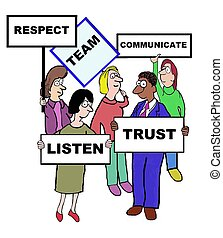 TEAM - Business cartoon depicting the characteristics of a...