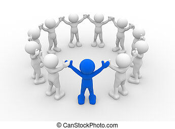 Team - 3d people - human character, leadership and people in...