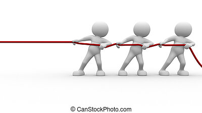 Team - 3d people - human character, person pulling a rope....